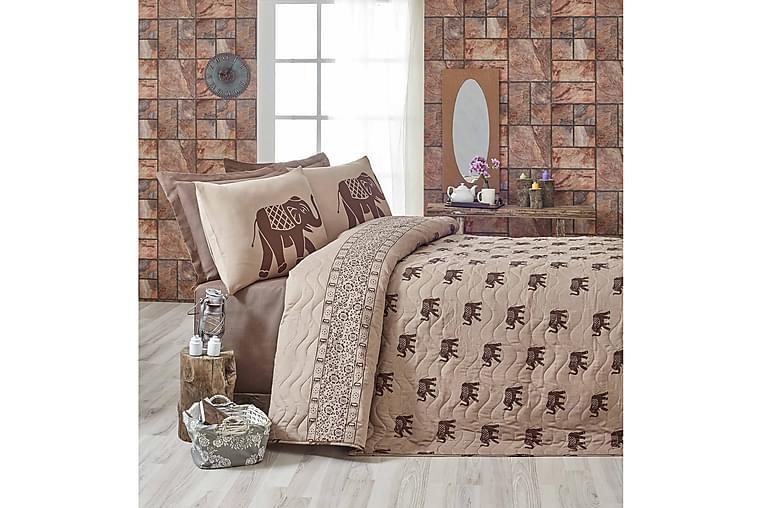 Eponj Home Sengeteppe Enkelt 160x220+Putetrekk Quiltet - Brun/Ljusbrun - Innredning - Tekstiler - Sengetøy