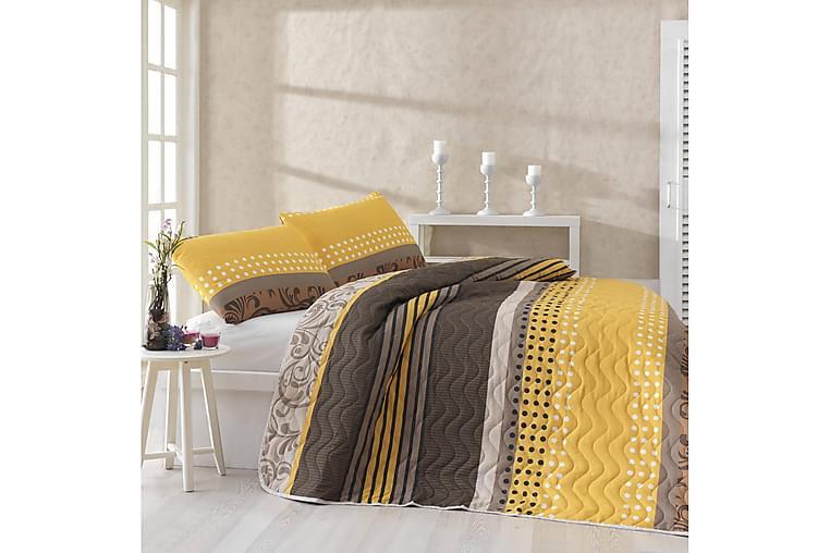 Eponj Home Sengeteppe Enkelt 160x220+Putetrekk Quiltet - Gul/Brun/Beige/Hvit - Innredning - Tekstiler - Sengetøy