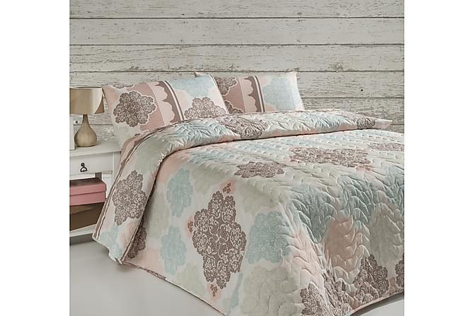 Eponj Home Sengeteppe Enkelt 160x220+Putetrekk Quiltet - Turkis/Rosa/Beige/Hvit - Innredning - Tekstiler - Putetrekk
