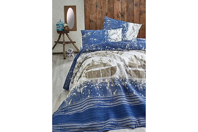Eponj Home Sengeteppe Enkelt 160x235 cm - Blå/Brun/Hvit - Innredning - Tekstiler - Sengetøy