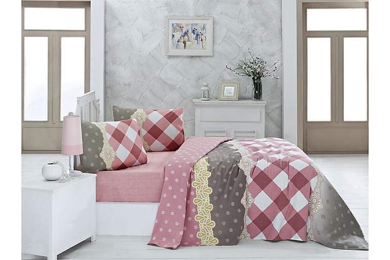 Victoria Sengeteppe Enkelt 160x230 cm - Rosa/Hvit/Beige/Grå - Innredning - Tekstiler - Sengetøy
