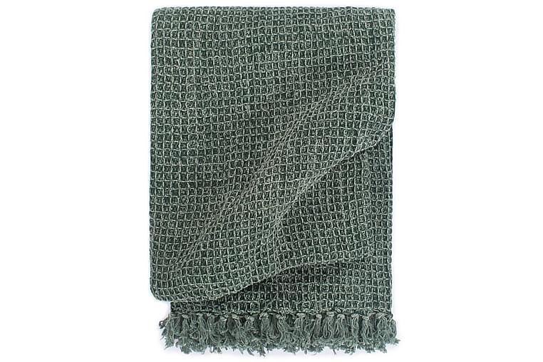 Pledd bomull 125x150 cm mørkegrønn - Innredning - Tekstiler - Tepper & pledd