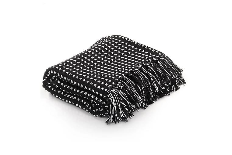 Pledd bomull rutetmønster 220x250 cm svart - Svart - Innredning - Tekstiler - Tepper & pledd