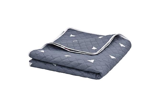 Sengeteppe mørkeblå 230x260 cm ultrasonisk stoff - Blå - Innredning - Tekstiler - Tepper & pledd