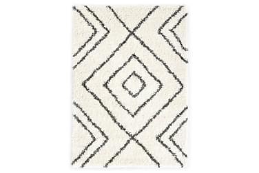 Teppe raggete PP beige og grå 80x150 cm