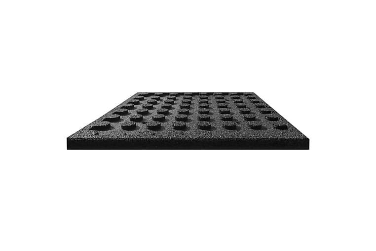 Fallunderlag fliser 12 stk gummi 50x50x3 cm svart - Innredning - Tepper & Matter - Gulvbeskyttelse