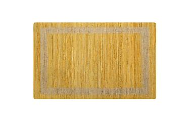 Håndlaget teppe jute gul 160x230 cm