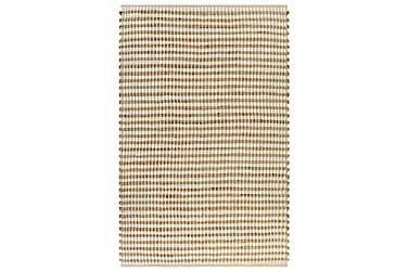 Håndvevd teppe jutestoff 120x180 cm naturell og hvit