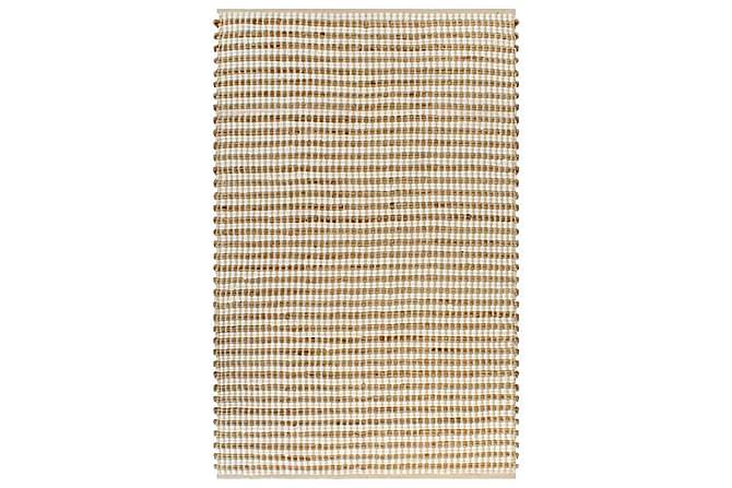 Håndvevd teppe jutestoff 120x180 cm naturell og hvit - Innredning - Tepper & Matter - Små tepper