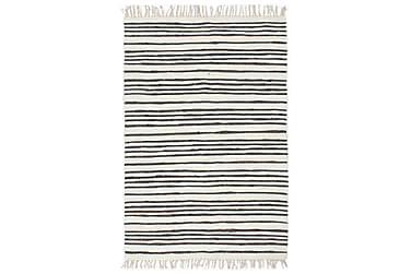 Håndvevet Chindi teppe bomull 120x170 cm antrasitt og hvit