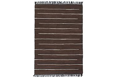 Håndvevet Chindi teppe bomull 120x170 cm brun