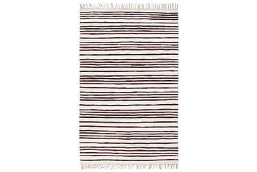 Håndvevet Chindi teppe bomull 120x170 cm burgunder og hvit