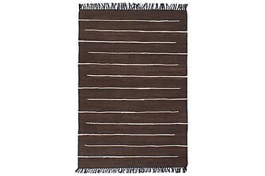 Håndvevet Chindi teppe bomull 160x230 cm brun