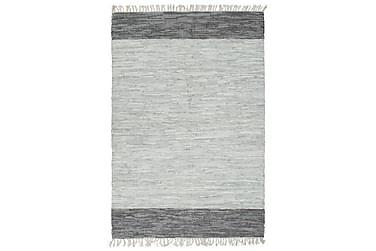 Håndvevet Chindi teppe lær 160x230 cm grå