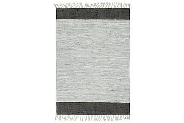 Håndvevet Chindi teppe lær 160x230 cm lysegrå og svart