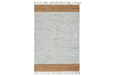 Håndvevet Chindi teppe lær 190x280 cm lysegrå og lysebrun