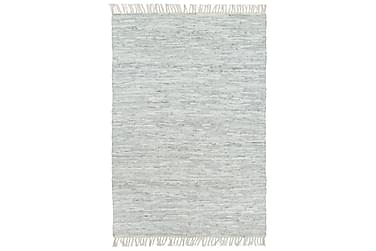 Håndvevet Chindi teppe lær 80x160 cm lysegrå
