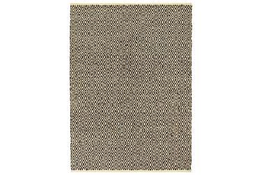Håndvevet Chindi teppe lær og bomull 190x280 cm svart