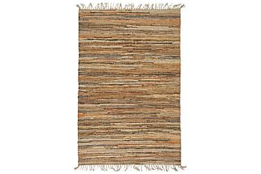Håndvevet Chindi teppe lær og jute 120x170 cm lysebrun