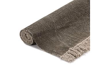 Gulvteppe kilimvevet bomull 160x230 cm gråbrun