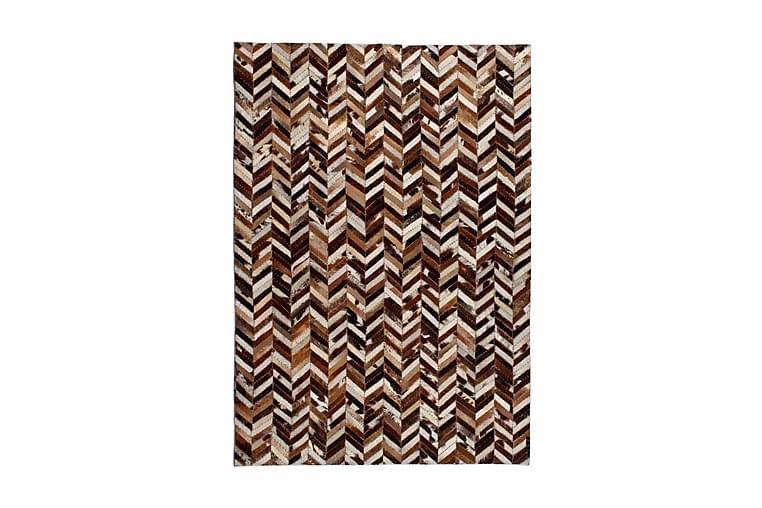 Lappeteppe ekte lӕr 120x170 cm chevron brun/hvit - Brun/Hvit - Innredning - Tepper & Matter - Skinn & pelstepper