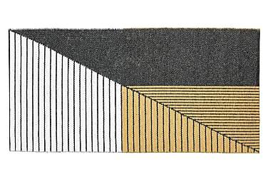 Stripe Plastmatte 70x140 Vendbar PVC Svart/Gul