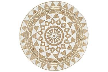 Håndlaget juteteppe med hvitt mønster 150 cm