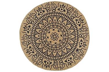 Håndlaget juteteppe med mørkeblå mønster 150 cm