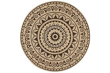Håndlaget juteteppe med mørkebrunt mønster 150 cm