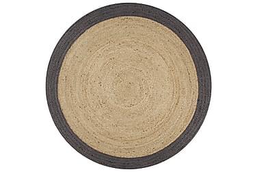 Håndlaget juteteppe med mørkegrå kant 150 cm