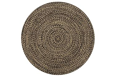 Håndlaget teppe jute svart og naturlig 120 cm