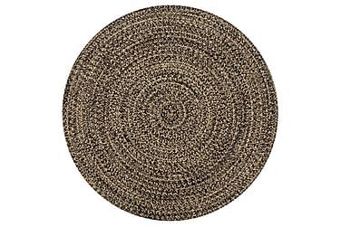 Håndlaget teppe jute svart og naturlig 90 cm