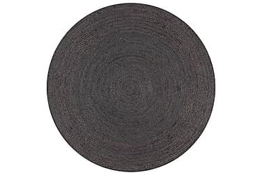 Håndlaget juteteppe rundt 90 cm mørkegrå