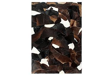 Lappeteppe ekte kuskinn med hår 160x230 cm svart/hvit/brun