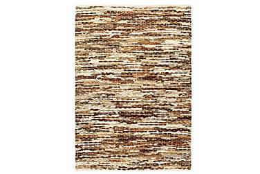 Teppe ekte kuskinn med hår 120x170 cm brun/hvit