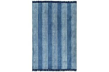 Gulvteppe kilimvevet bomull med mønster 120x180 cm blå