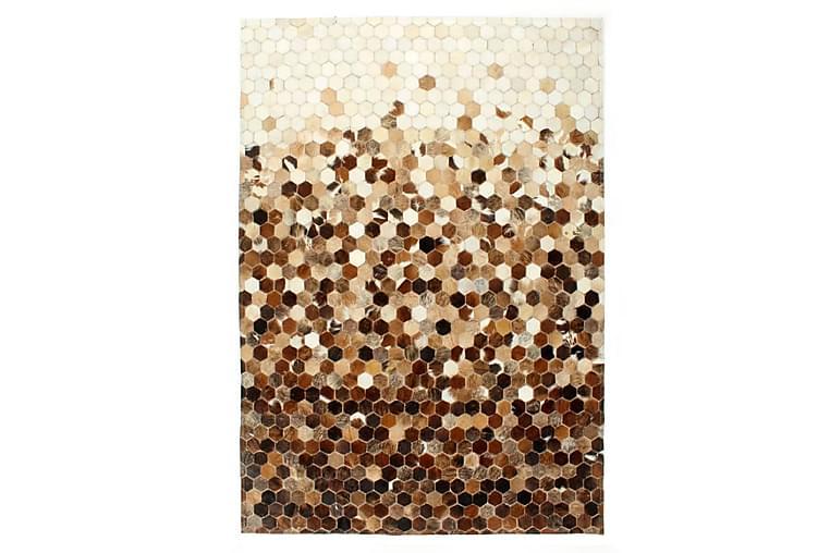 Lappeteppe ekte kuskinn med hår 120x170 cm brun/hvit