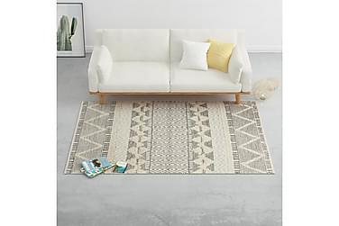 Håndvevd teppe ull 160x230 cm hvit/grå/svart/brun