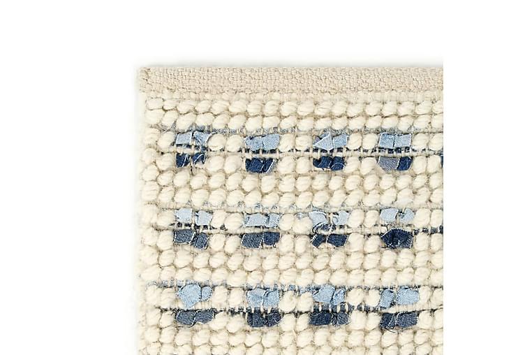 Teppe denim ull 140x200 cm blå/hvit - Hvit - Innredning - Tepper & Matter - Ullteppe