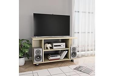 TV-benk med hjul sonoma eik 80x40x40 cm sponplate
