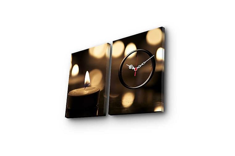 Dekorativ Canvasbilde med Klokke 2 Deler - Flerfarget - Innredning - Veggdekorasjon - Klokker