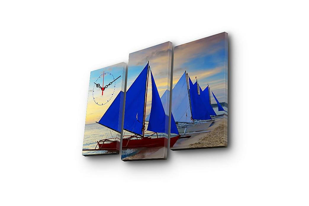 Dekorativ Canvasbilde med Klokke 3 Deler - Flerfarget - Innredning - Veggdekorasjon - Klokker