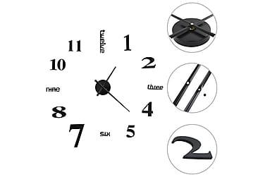 Veggklokke 3D moderne design 100 cm XXL svart