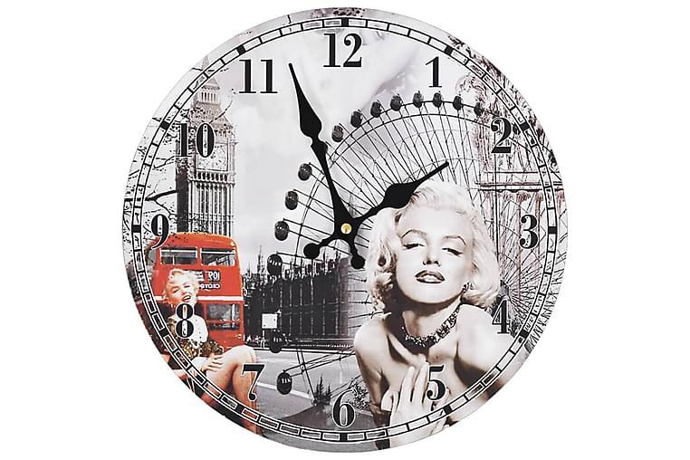 Veggklokke vintage Marilyn Monroe 30 cm - Innredning - Veggdekorasjon - Klokker