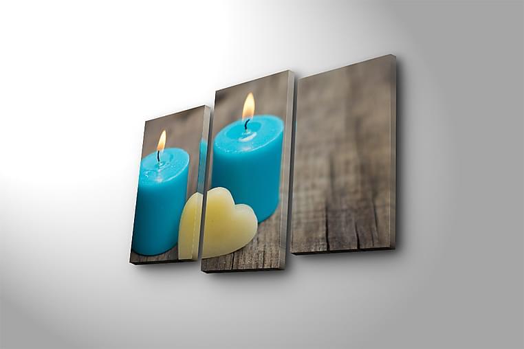 Canvasbilde 3-pk flerfarget - 22x03 cm - Innredning - Veggdekorasjon - Lerretsbilder