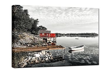 Canvastavla The red Hut
