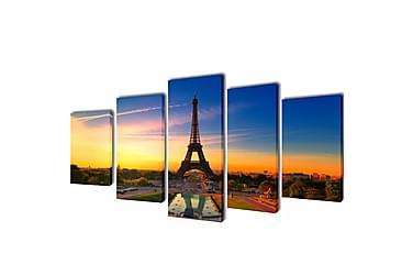 Kanvas Flerdelt Veggdekorasjon Eiffel Tower 100x50 cm