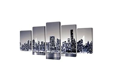 Kanvas Flerdelt Veggdekorasjon Monokrom New York Horisont 20