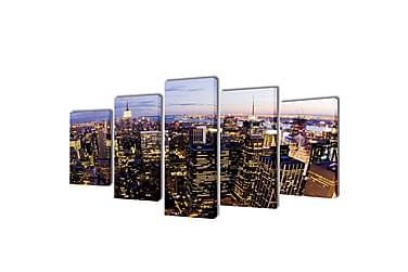 Kanvas Flerdelt Veggdekorasjon New York Fugleperspektiv 200x