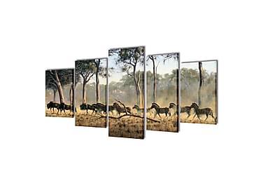 Kanvas Flerdelt Veggdekorasjon Sebra 200x100 cm